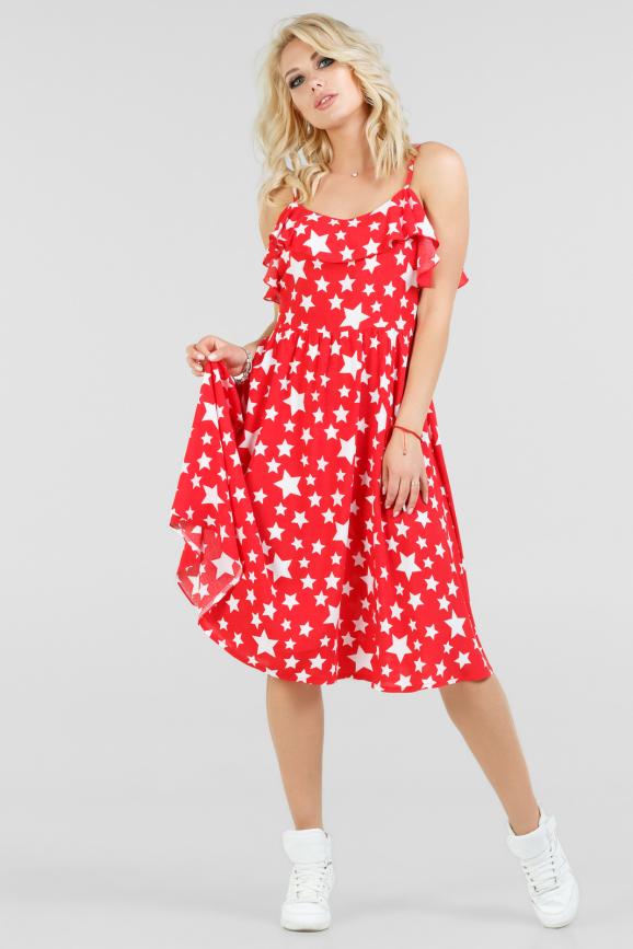 Летнее платье с расклешённой юбкой красного с белым цвета 2690.84|интернет-магазин vvlen.com
