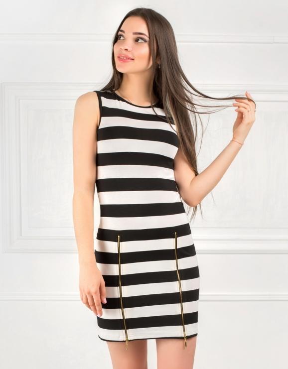 Повседневное платье майка полоски черной цвета|интернет-магазин vvlen.com