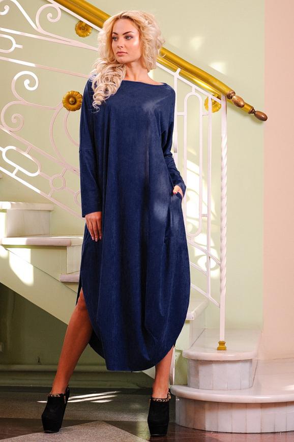 Платье оверсайз синего в горох цвета|интернет-магазин vvlen.com