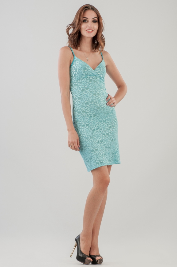 Коктейльное платье футляр бирюзового цвета|интернет-магазин vvlen.com