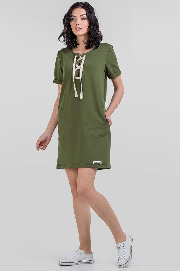 Летнее спортивное платье хаки цвета|интернет-магазин vvlen.com