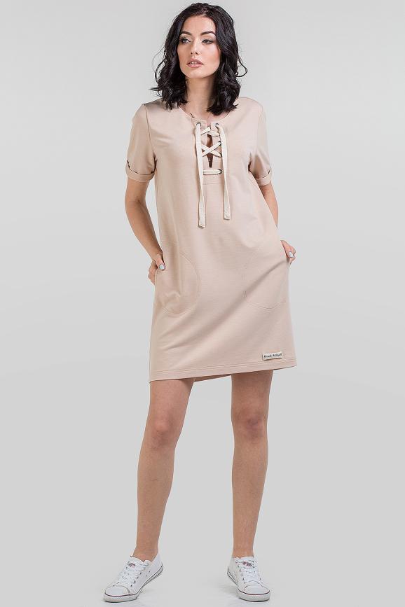 Повседневное спортивное платье бежевого цвета 2615-2.79|интернет-магазин vvlen.com