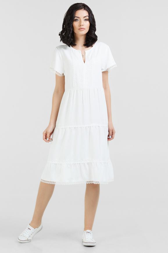 Летнее платье балахон молочного цвета 2689.102|интернет-магазин vvlen.com