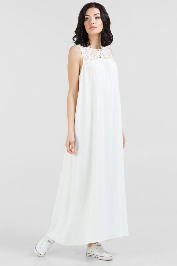 Летнее платье балахон молочного цвета 2688.102|интернет-магазин vvlen.com