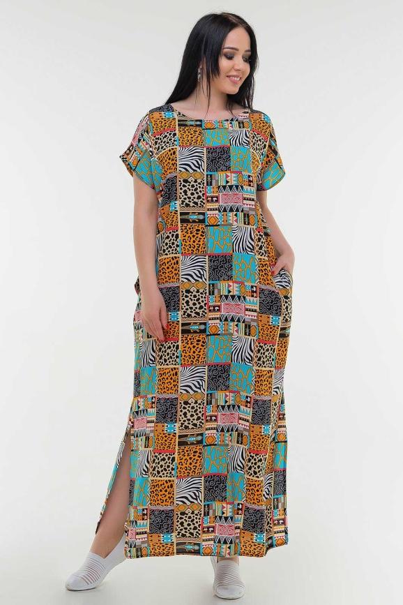 Летнее платье балахон бирюзового с горчичным цвета it 100|интернет-магазин vvlen.com
