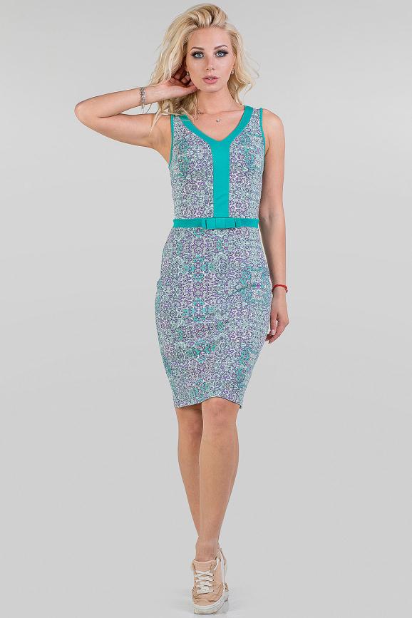Летнее платье футляр мятный с сиреневым цвета 2020.17|интернет-магазин vvlen.com