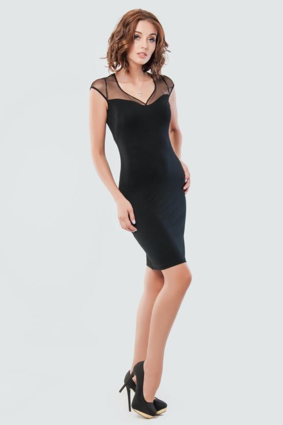 Коктейльное платье футляр черного цвета 1550.2|интернет-магазин vvlen.com