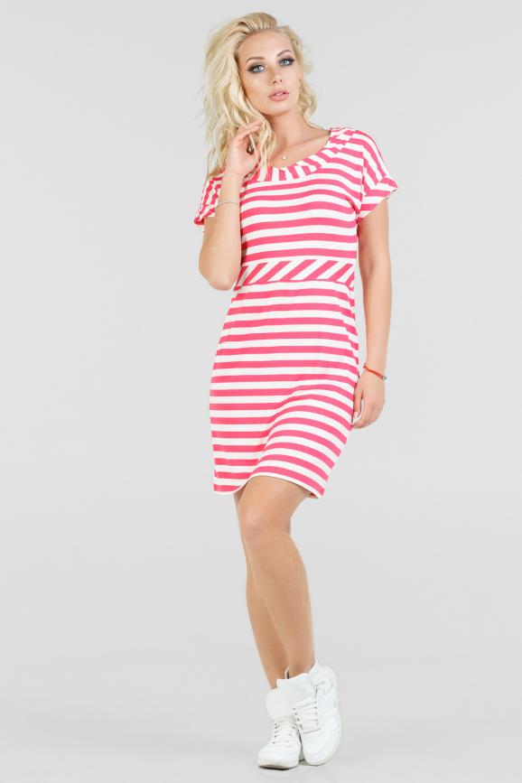 Летнее платье футляр в бело-розовую полоску|интернет-магазин vvlen.com