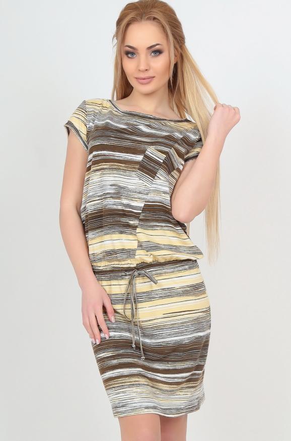 Повседневное платье футляр коричнево-желтого тона цвета|интернет-магазин vvlen.com