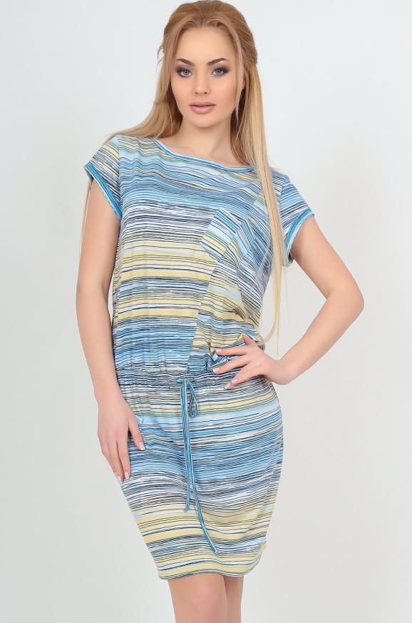 Летнее платье футляр желтого с голубым цвета|интернет-магазин vvlen.com
