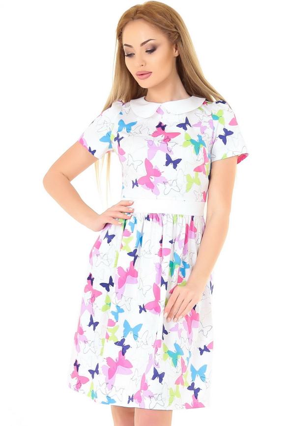 Повседневное платье с пышной юбкой белого с малиновым цвета|интернет-магазин vvlen.com