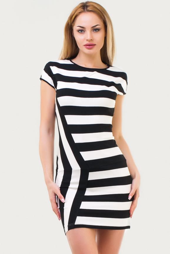 Летнее платье футляр полоски черной цвета 1494 17|интернет-магазин vvlen.com