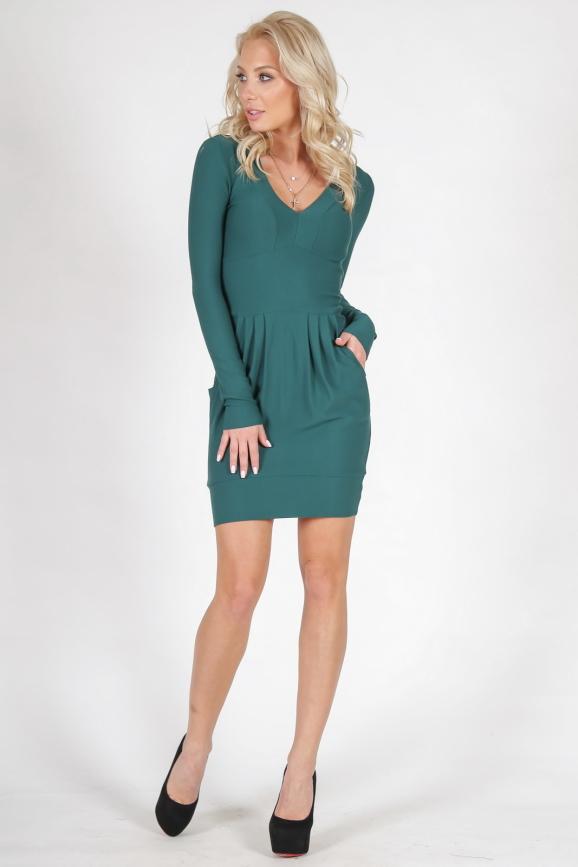 Повседневное платье с юбкой тюльпан зеленого цвета 1571.14|интернет-магазин vvlen.com