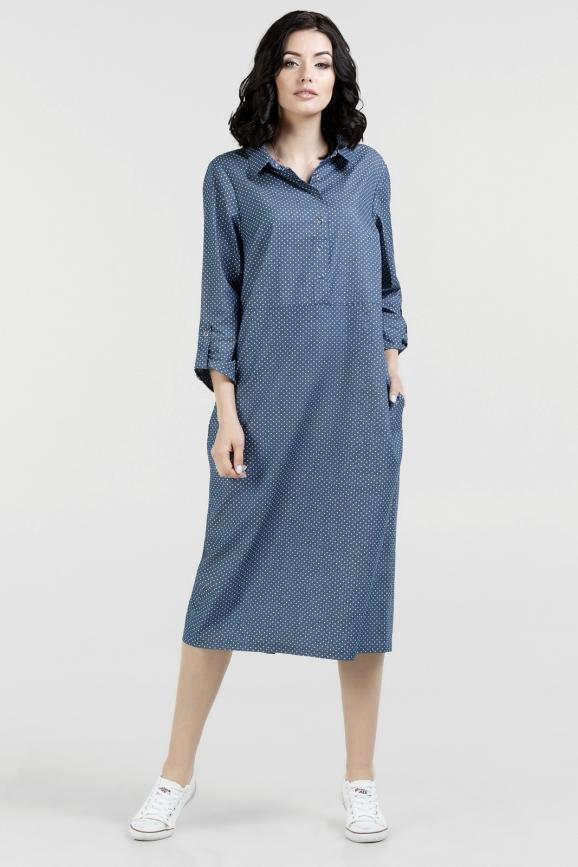 Повседневное платье рубашка джинса цвета 2677.24|интернет-магазин vvlen.com