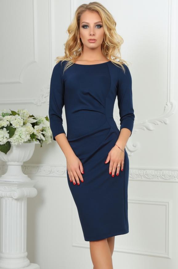 Офисное платье футляр темно-синего цвета|интернет-магазин vvlen.com