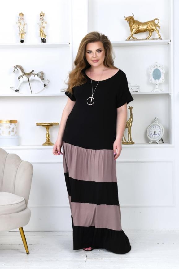 Летнее платье с длинной юбкой черного цвета 760-1 интернет-магазин vvlen.com