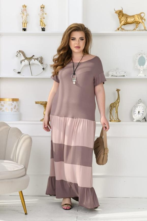 Летнее платье с пышной юбкой мокко цвета 760-1 интернет-магазин vvlen.com