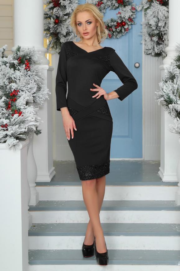 Коктейльное платье футляр черного цвета 2447.47|интернет-магазин vvlen.com