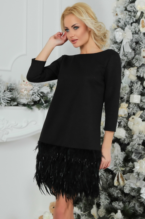 Коктейльное платье футляр черного цвета 2466.41|интернет-магазин vvlen.com