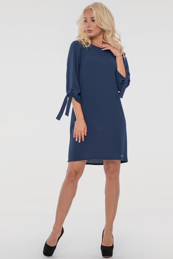 Повседневное платье  мешок синего цвета 2851.102|интернет-магазин vvlen.com