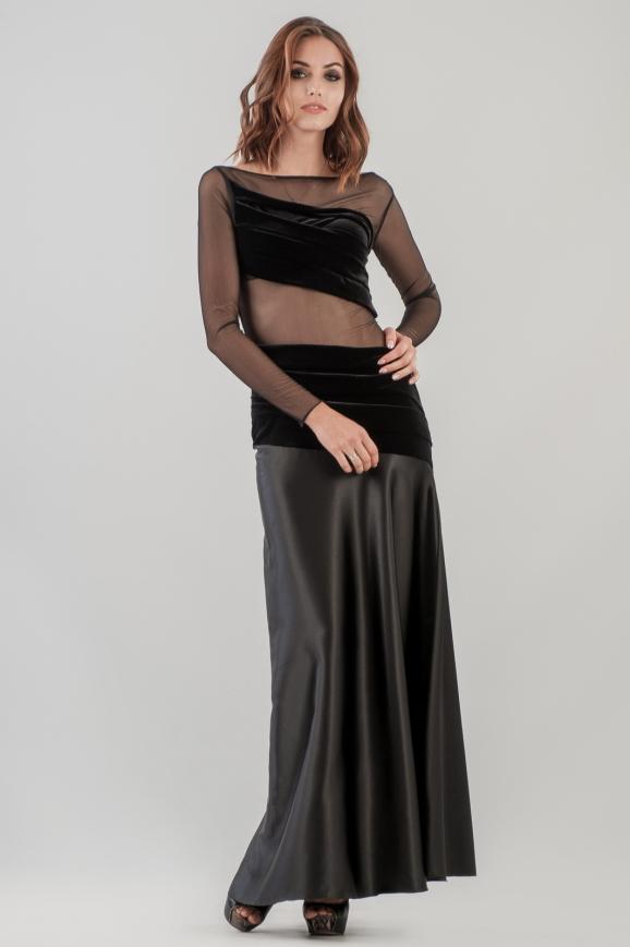 Вечернее платье с расклешённой юбкой черного цвета 998|интернет-магазин vvlen.com