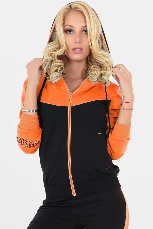 Спортивная кофта черного с оранжевым цвета|интернет-магазин vvlen.com