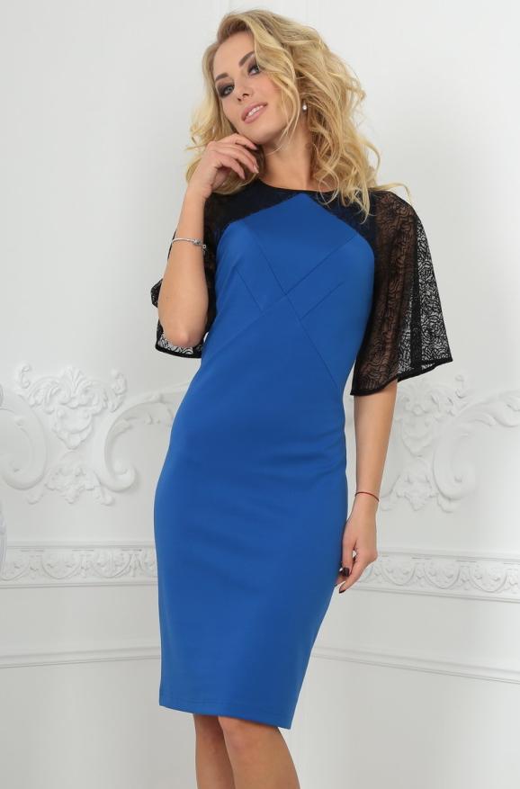 Коктейльное платье футляр электрика цвета 2522.47|интернет-магазин vvlen.com