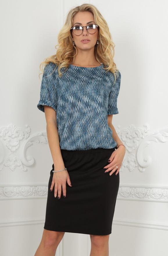 Офисное платье футляр голубого с черным цвета 2524.42|интернет-магазин vvlen.com