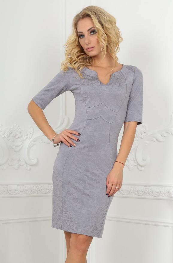 Повседневное платье футляр серого цвета 2000-1.80|интернет-магазин vvlen.com