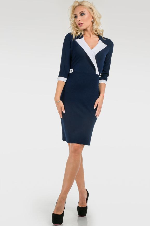 Деловое трикотажное платье темно-синее|интернет-магазин vvlen.com