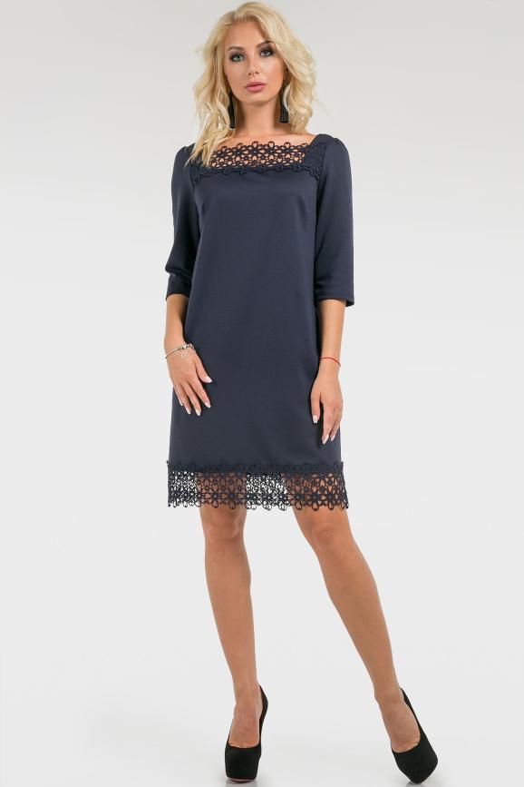 Коктейльное платье с рюшиками темно-синее|интернет-магазин vvlen.com