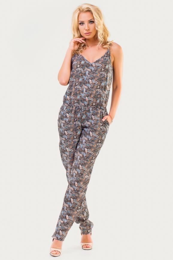 Женский комбинезон брючный коричневого с бирюзовым цвета|интернет-магазин vvlen.com