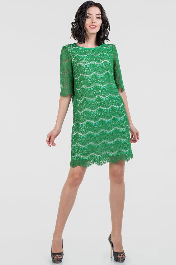 Коктейльное платье трапеция зеленого цвета|интернет-магазин vvlen.com