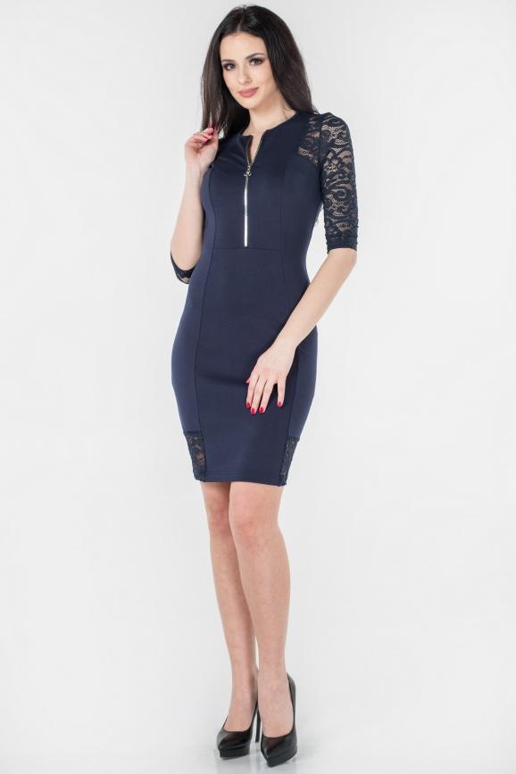 Повседневное платье футляр темно-синего цвета 2653.47|интернет-магазин vvlen.com