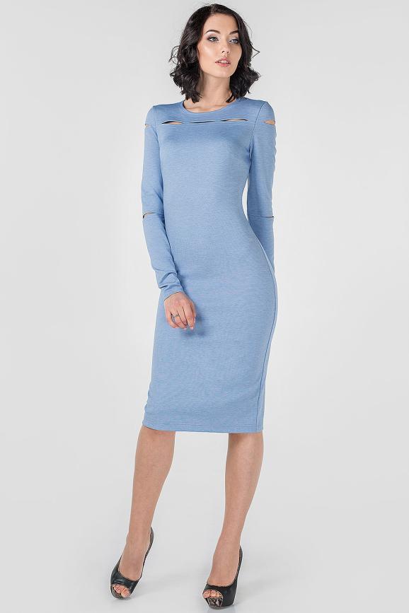 Повседневное платье футляр серо-голубого цвета 2663.47|интернет-магазин vvlen.com