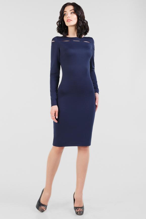 Офисное платье футляр темно-синего цвета 2663.47|интернет-магазин vvlen.com