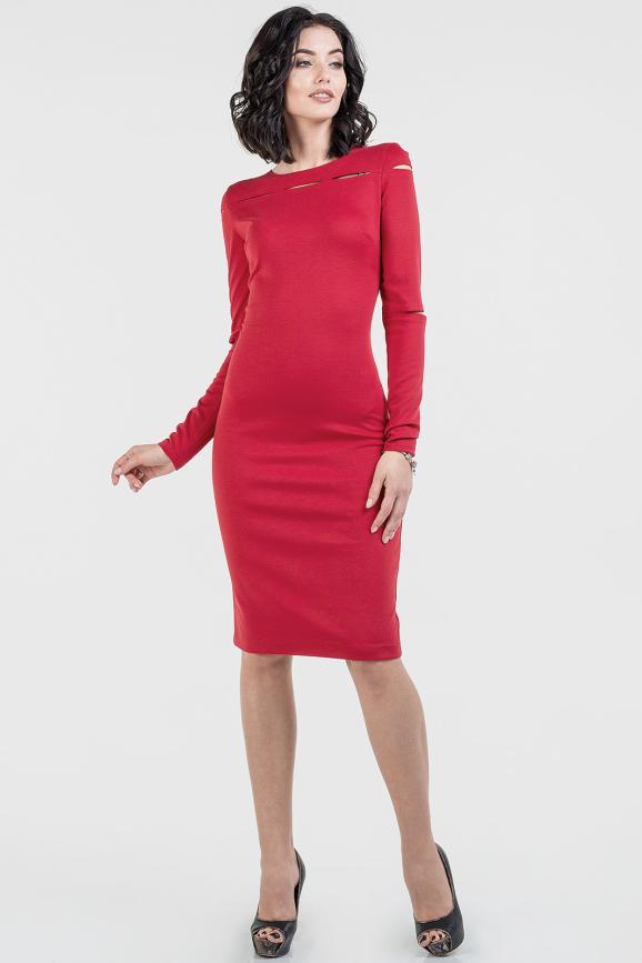 Повседневное платье футляр красного цвета 2663.47|интернет-магазин vvlen.com