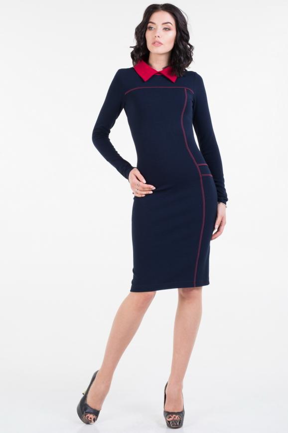 Повседневное платье футляр синего цвета 1663.1|интернет-магазин vvlen.com