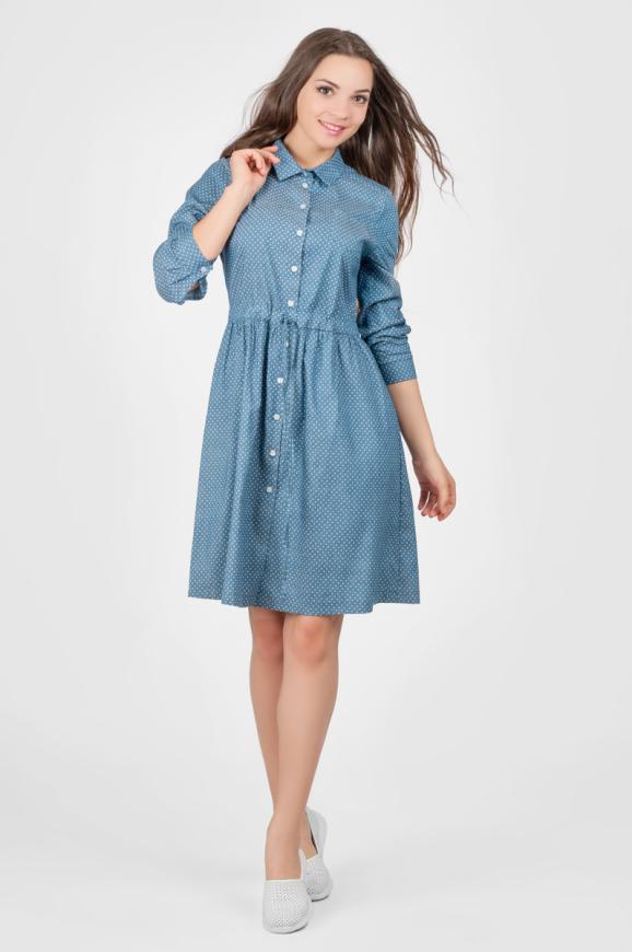 Повседневное платье рубашка голубого с белым цвета 2338.9 d39|интернет-магазин vvlen.com