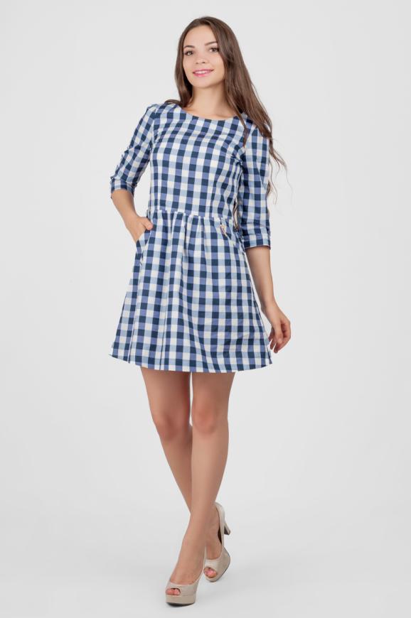 Повседневное платье с расклешённой юбкой синего в горох цвета 2340.23-4.d38|интернет-магазин vvlen.com