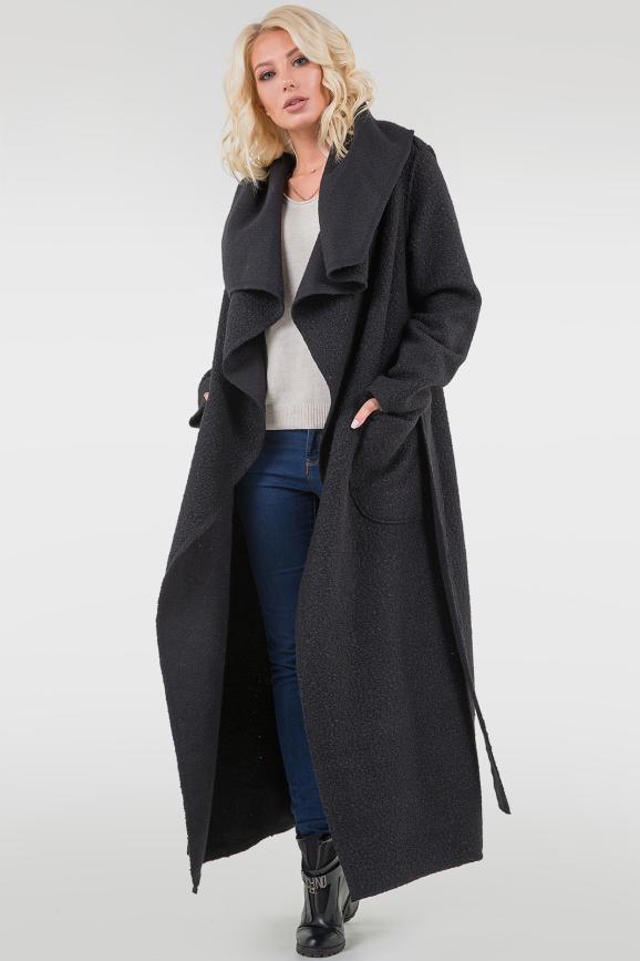 Трендовое женское пальто на запах черного цвета|интернет-магазин vvlen.com
