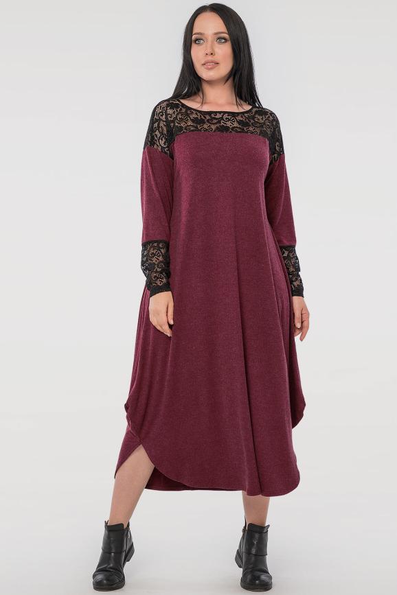 Платье оверсайз бордового цвета 2481.17|интернет-магазин vvlen.com