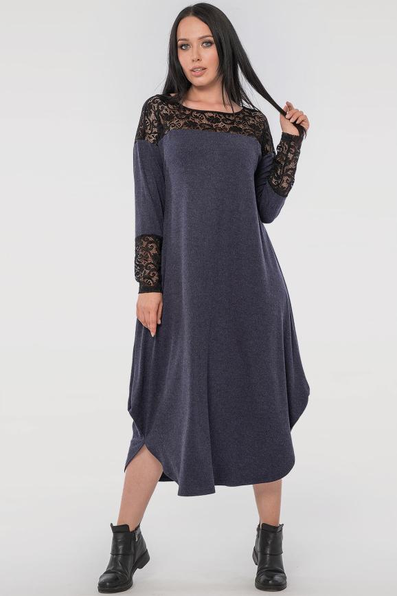 Платье оверсайз синего цвета 2481.17 интернет-магазин vvlen.com