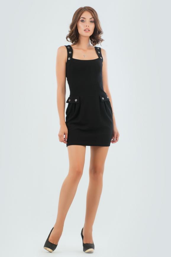 Повседневное платье футляр черного цвета 904.1|интернет-магазин vvlen.com