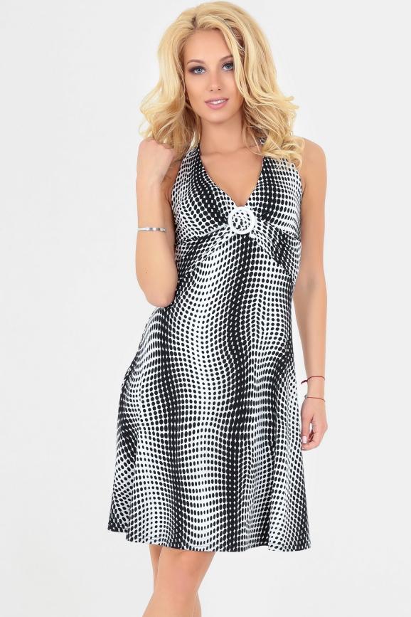 Летнее платье с расклешённой юбкой черного в точку цвета 447|интернет-магазин vvlen.com