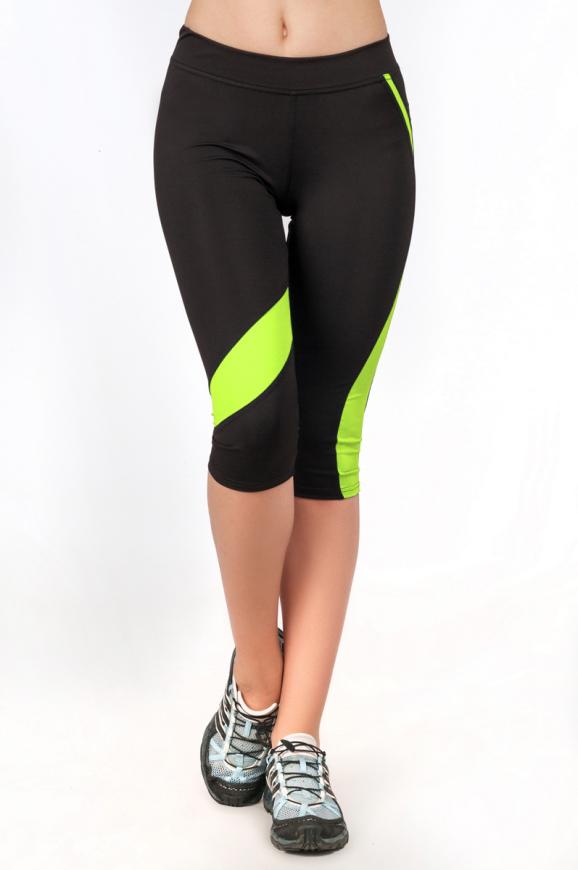 Бриджи для фитнеса черного с зеленым цвета 2362.67|интернет-магазин vvlen.com