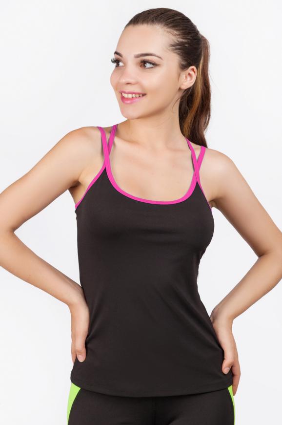 Майка для фитнеса черного с розовым цвета 2356.67|интернет-магазин vvlen.com