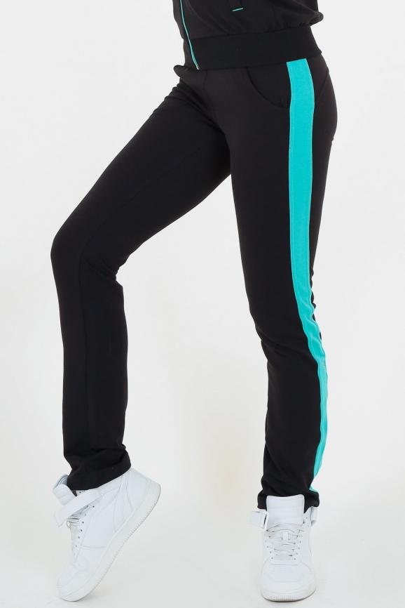 Спортивные штаны черного с зеленым цвета 165|интернет-магазин vvlen.com