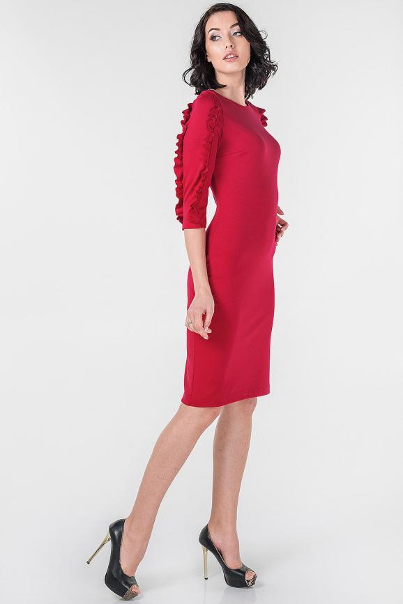 Повседневное платье футляр красного цвета 2651.47|интернет-магазин vvlen.com