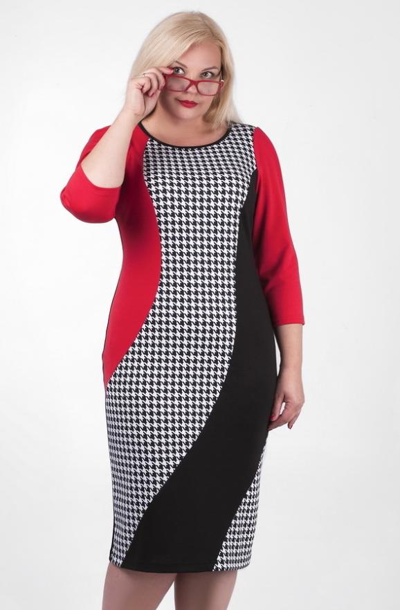 Платье футляр черного с красным цвета 2383.41d|интернет-магазин vvlen.com